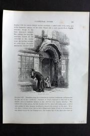 Picturesque Europe 1870s Antique Print. The Jew's House, Lincoln